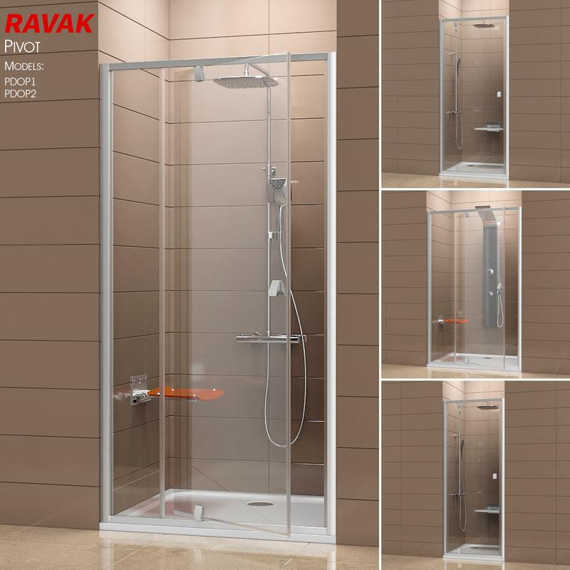 3D model shower ravak pivot doors