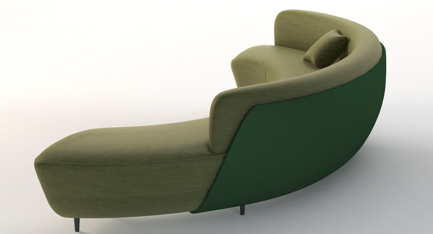 Curved Half Moon Sectional Chaise Lounge Fabric Sofa