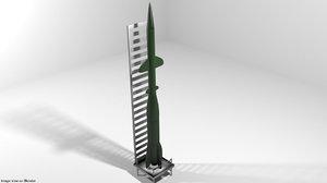 3D missile rocket model