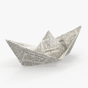 newspaper paper boat 3D model