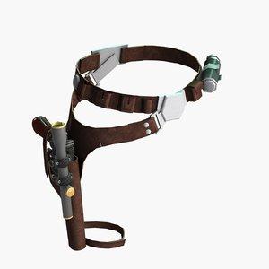 han solo blaster belt 3D model