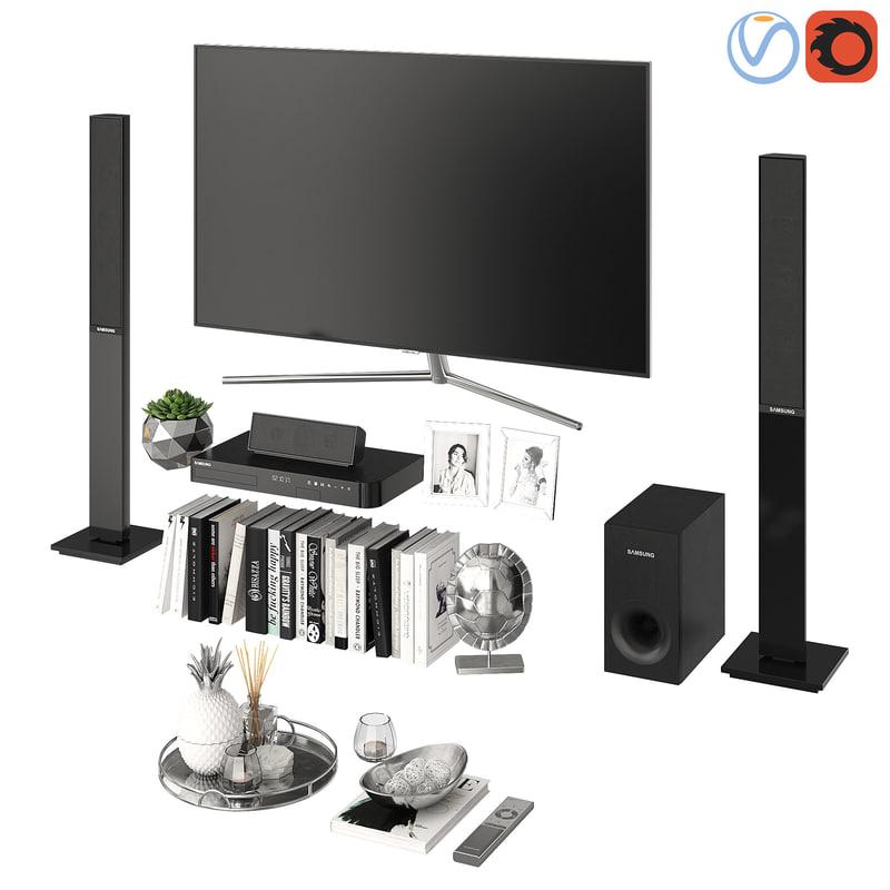 3D model samsung tv living room