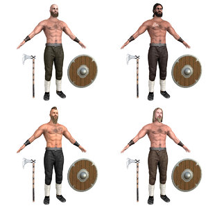 viking warrior rigging 3D model