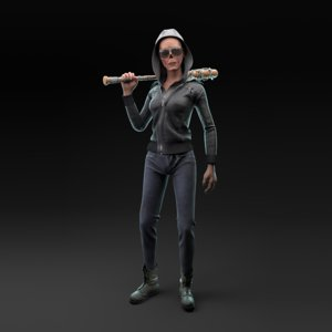 zombie girl character 3D