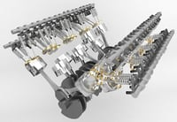 3D w16 bugatti veyron engine model