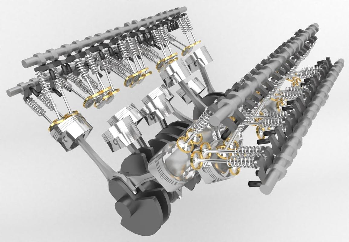 3D w16 bugatti veyron engine model