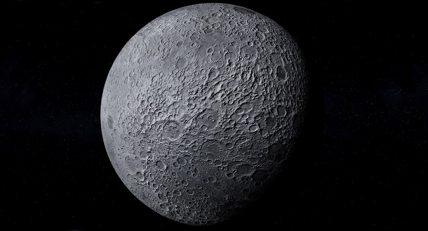 3D photorealistic moon 64k planet model
