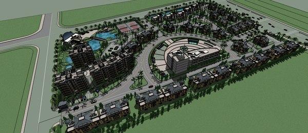3D villas residential apartment