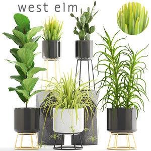 plants pots west 3D model