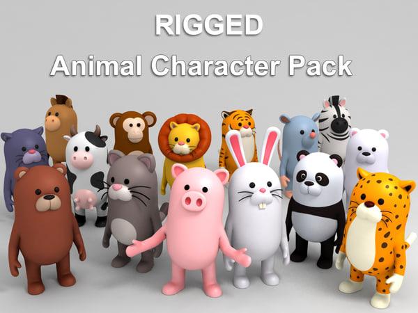 cartoon animal pack rigged model