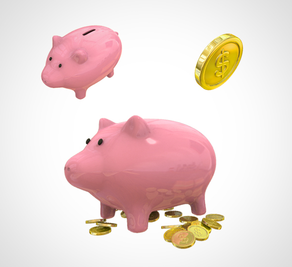 piggy bank coins 3D