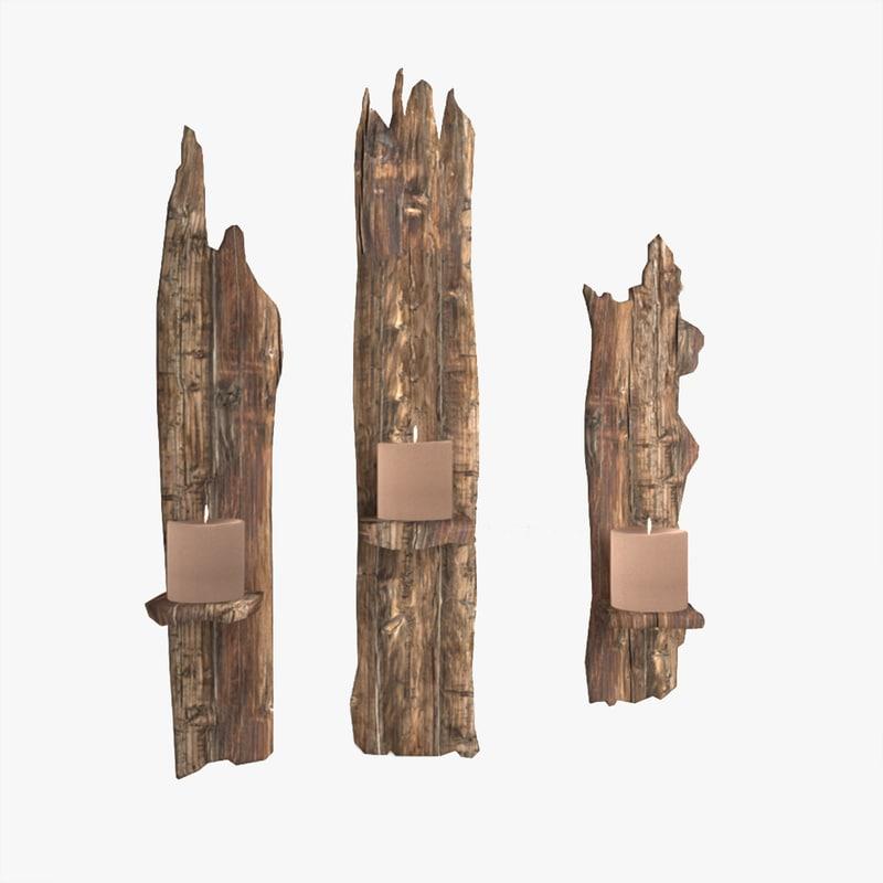 wooden shelf candles 3D model