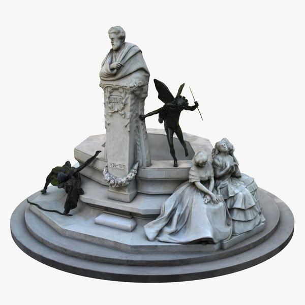 3D model glorieta becquer sculptural group