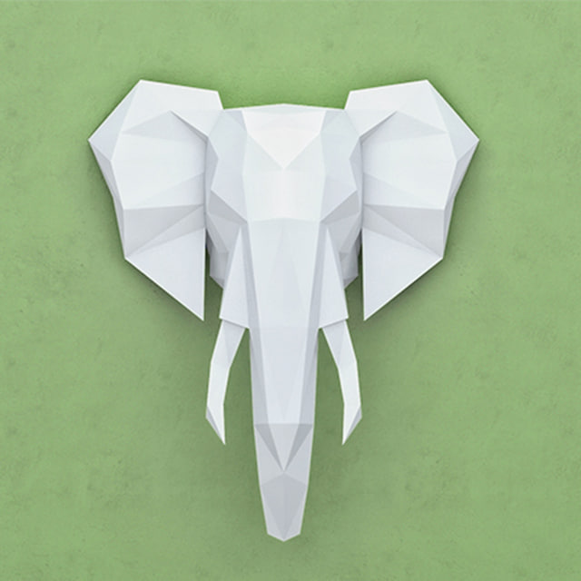 polygonal paper elephant 3D model