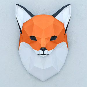 3D polygonal paper fox model