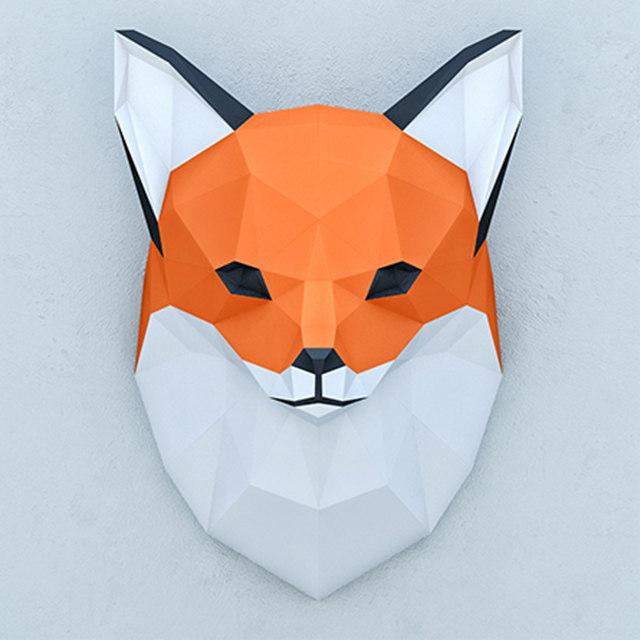 3D polygonal paper fox model