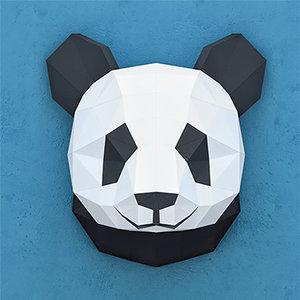 3D model polygonal paper panda