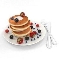 3D blackberry pancakes model