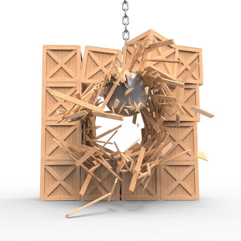 3D wooden boxes demolition