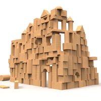 3D castle wooden wood