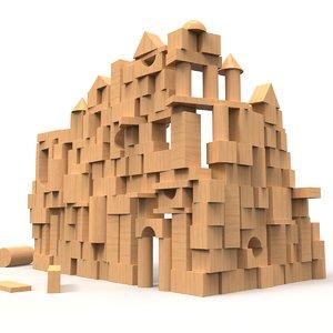 3D castle wooden wood