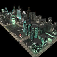 3D night city