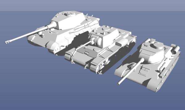 ww2 tank pack 3 3D model