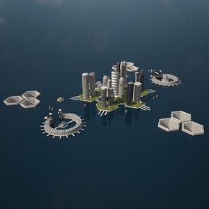 3D model sci fi city scene
