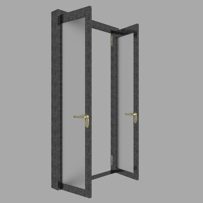 3D black white door model