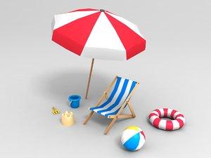3D beach props pack
