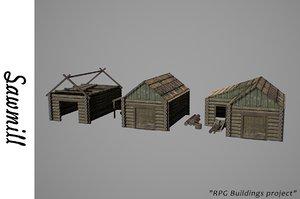 medieval sawmill 3D model