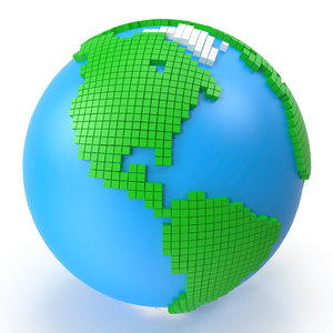 3D model isometric world cubed