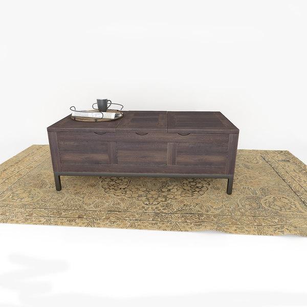 3d Dark Wood Coffee Table Turbosquid 1260349