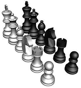 3D chessmen set model