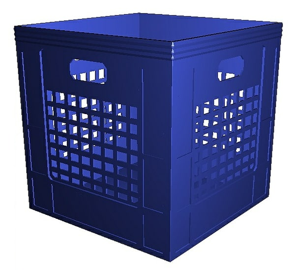3D milk crate - blue