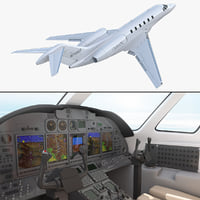Business Jet Cessna Citation X with Interior Rigged 3D Model