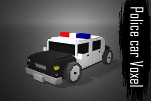 police car voxel low-poly 3D model