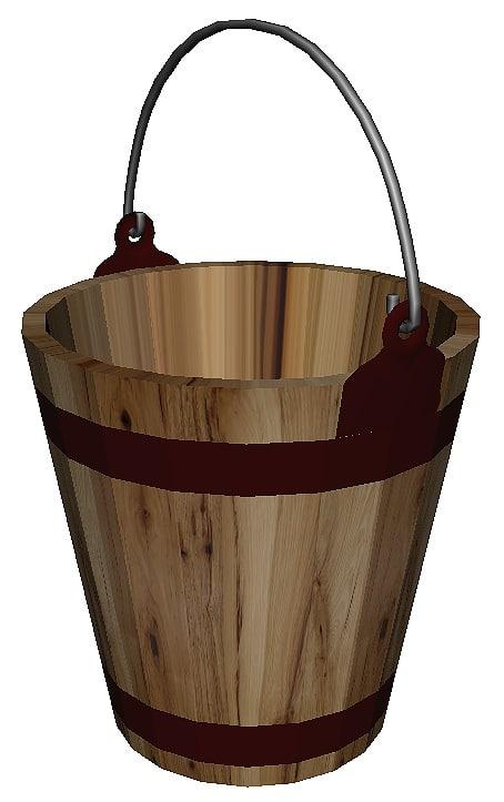 wooden bucket wood 3D model