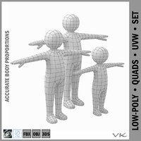 3D stickman kids model