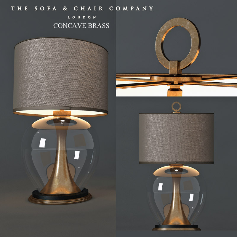 3D table lamp concave brass
