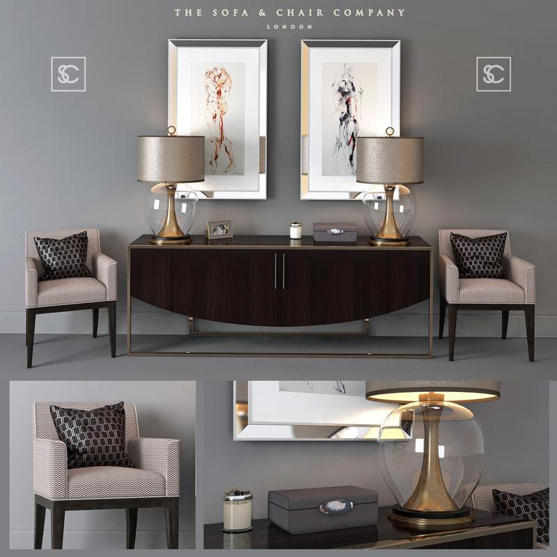 set furniture sofa chair 3D