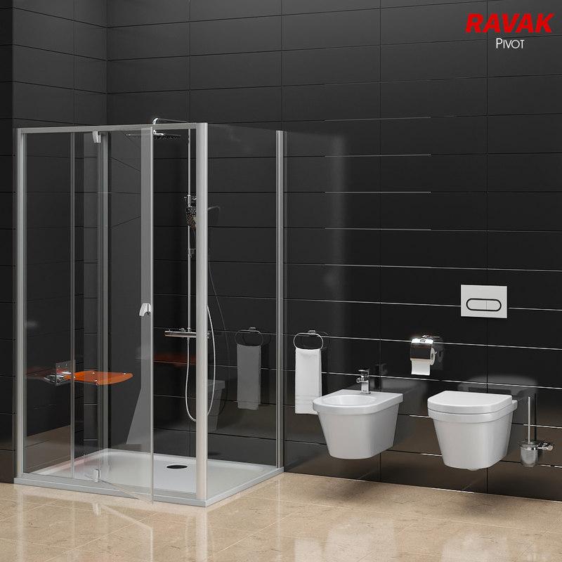 3D model shower room ravak pivot