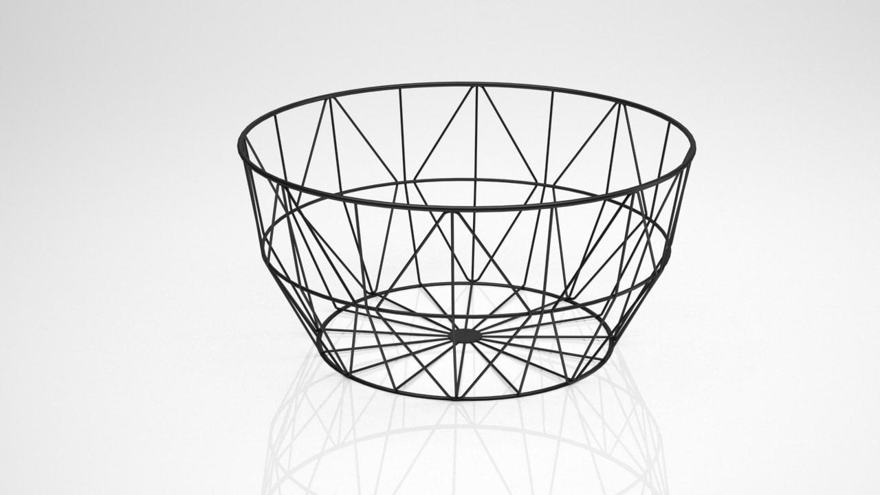 wire basket fruits 3D model