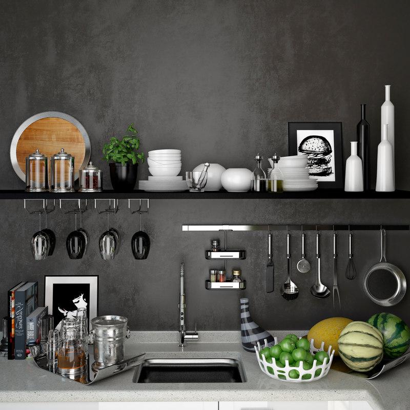 3D kitchen ware set whiskey model