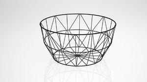 3D wire metal fruit basket