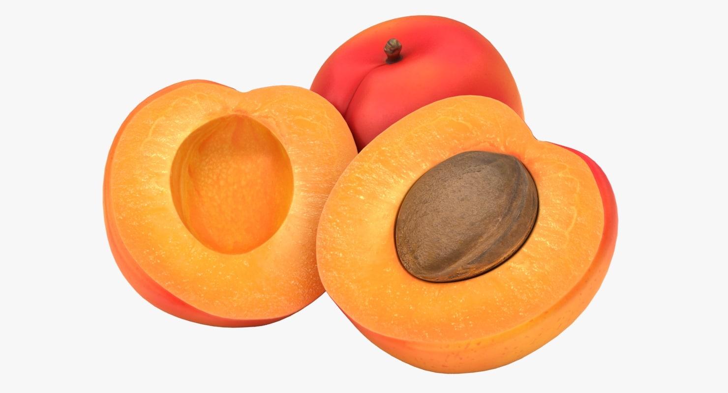 realistic apricot color 2 3D model