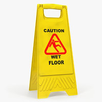 3D caution wet floor sign model