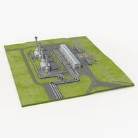 Geothermal Power Plant 3D Model