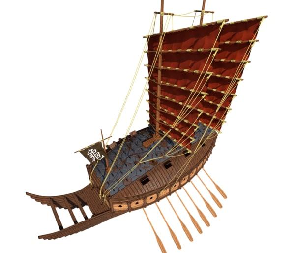 medieval korean turtle ship 3D