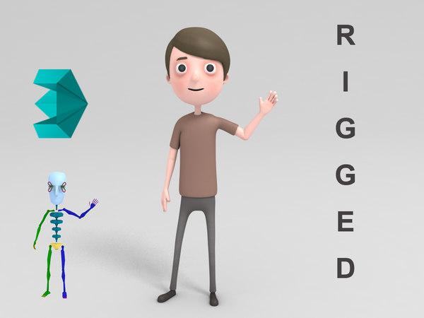 3D cartoon man character rigged